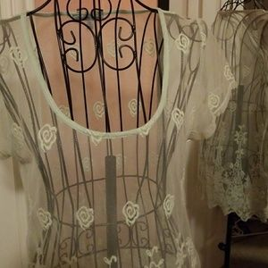 Sheer lace top pale green never worn